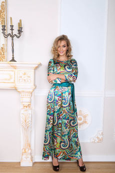 Платье в пол из шелка Open-Style со скидкой